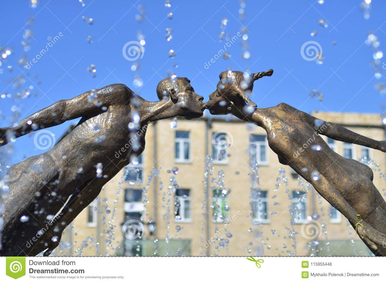 Monument to lovers in Kharkov, Ukraine - is an arch formed by the flying, fragile figures of a young man and a girl, merged into