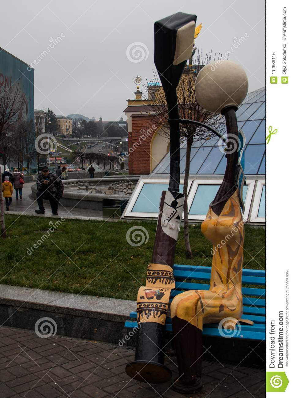 Monument to loving lanterns in Kiev