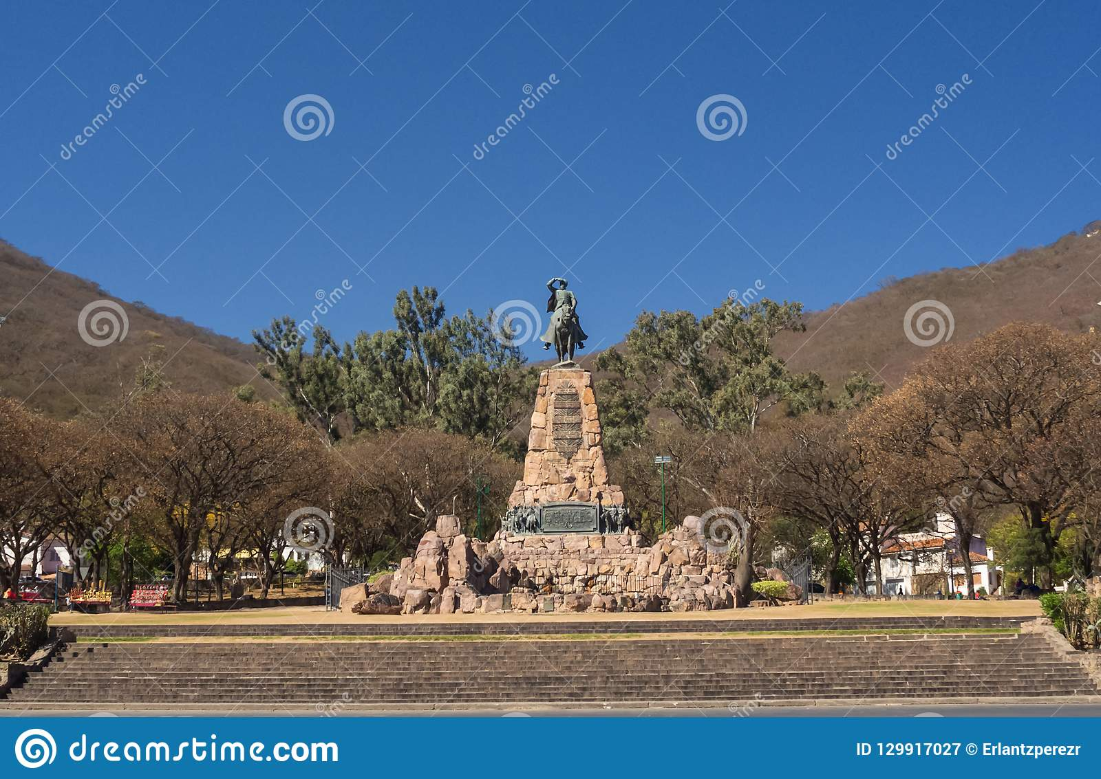 Monument to Martin Miguel de Guemes, a military leader and caudillo in Argentina