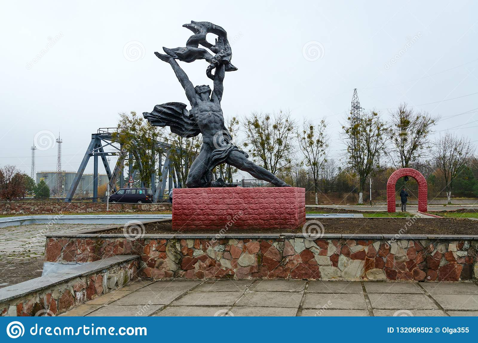 Monument To Prometheus Near Chernobyl Nuclear Power Plant In