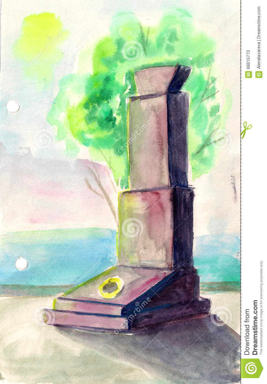 1148d2dfe Monument To Soldiers Of War, Watercolor Illustration Stock ...