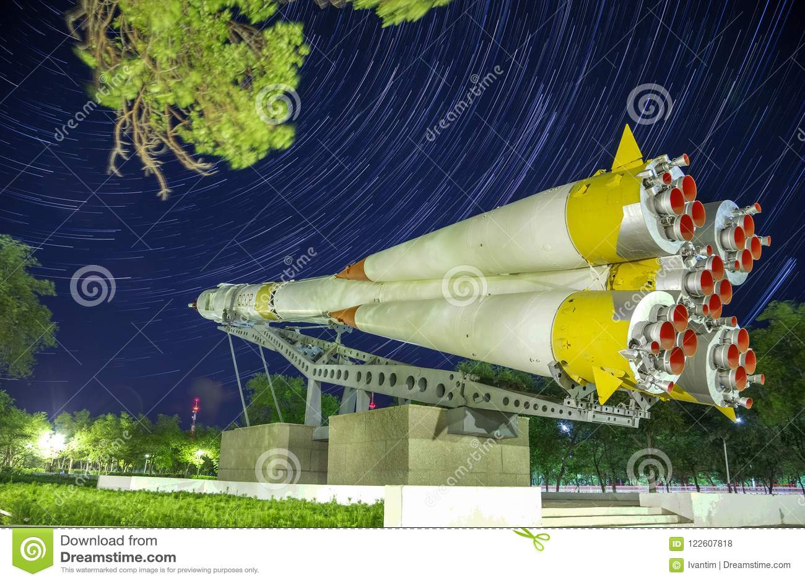 Monument to the Soyuz rocket. Startrails background.