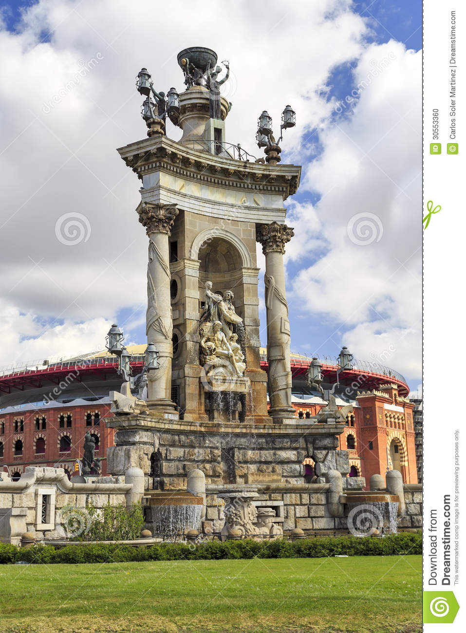 Monumental fountain in Plaza Spain, Barcelona