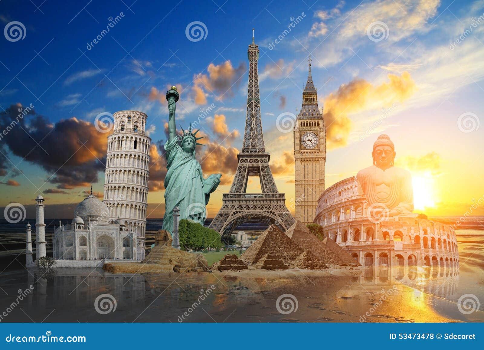 Monumenten van de wereld stock foto afbeelding bestaande uit londen 53473478 - Spiegelhuis van de wereld ...