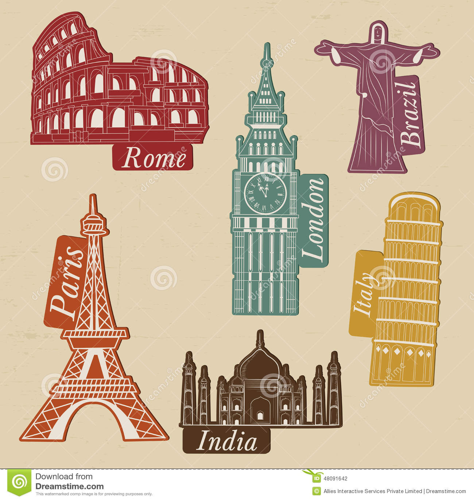 Monumenti di fama mondiale per il giro ed il viaggio