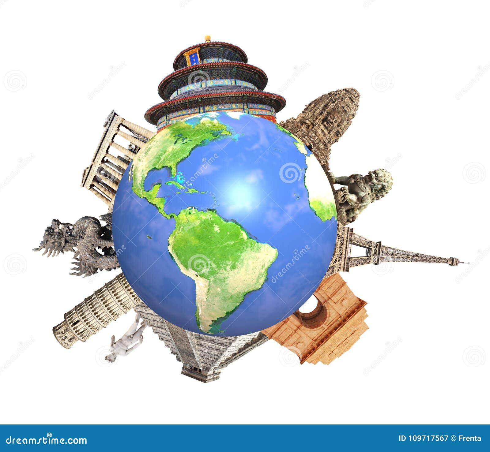Monumenti famosi del circondare del mondo del pianeta Terra