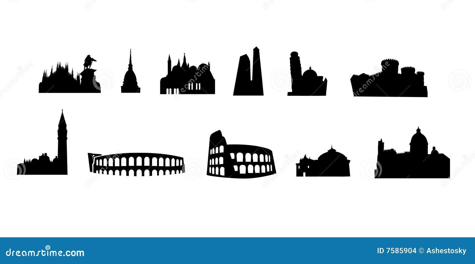 Monumenti italiani vectored illustrazione vettoriale for Immagini vector