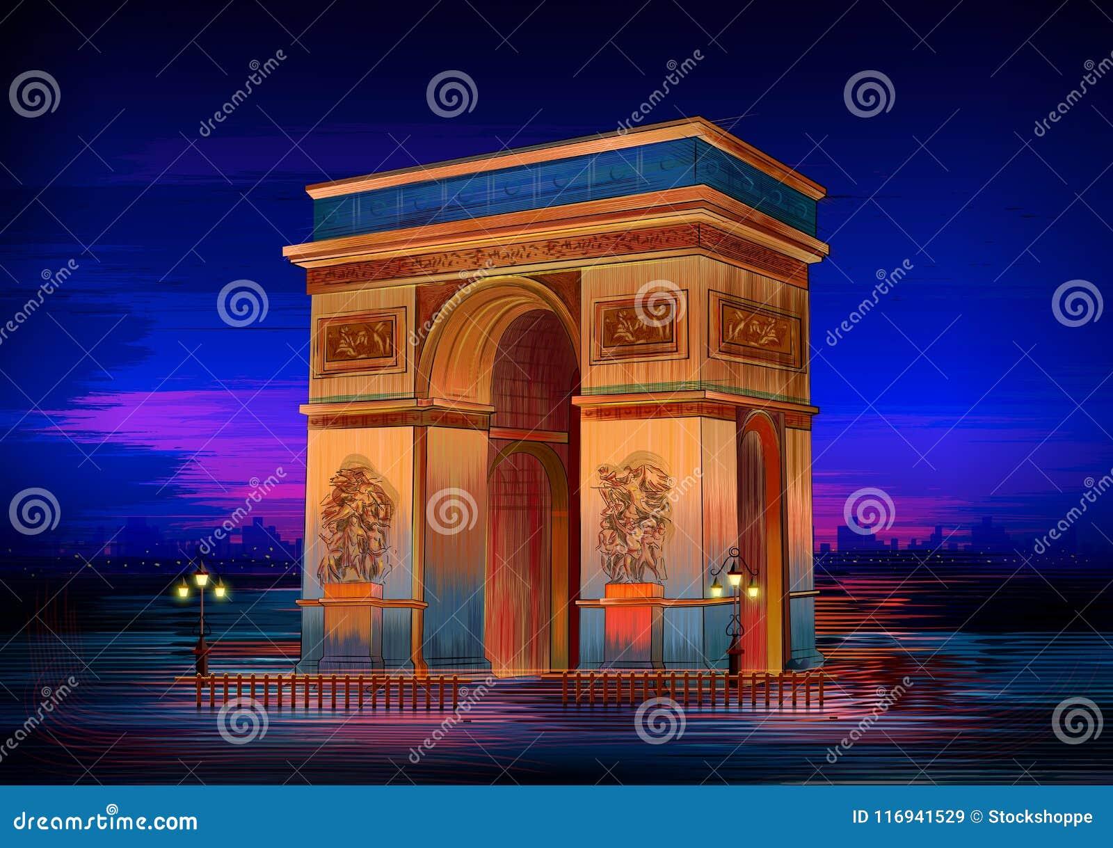 Monumento histórico famoso de Arc de Triomphe de París