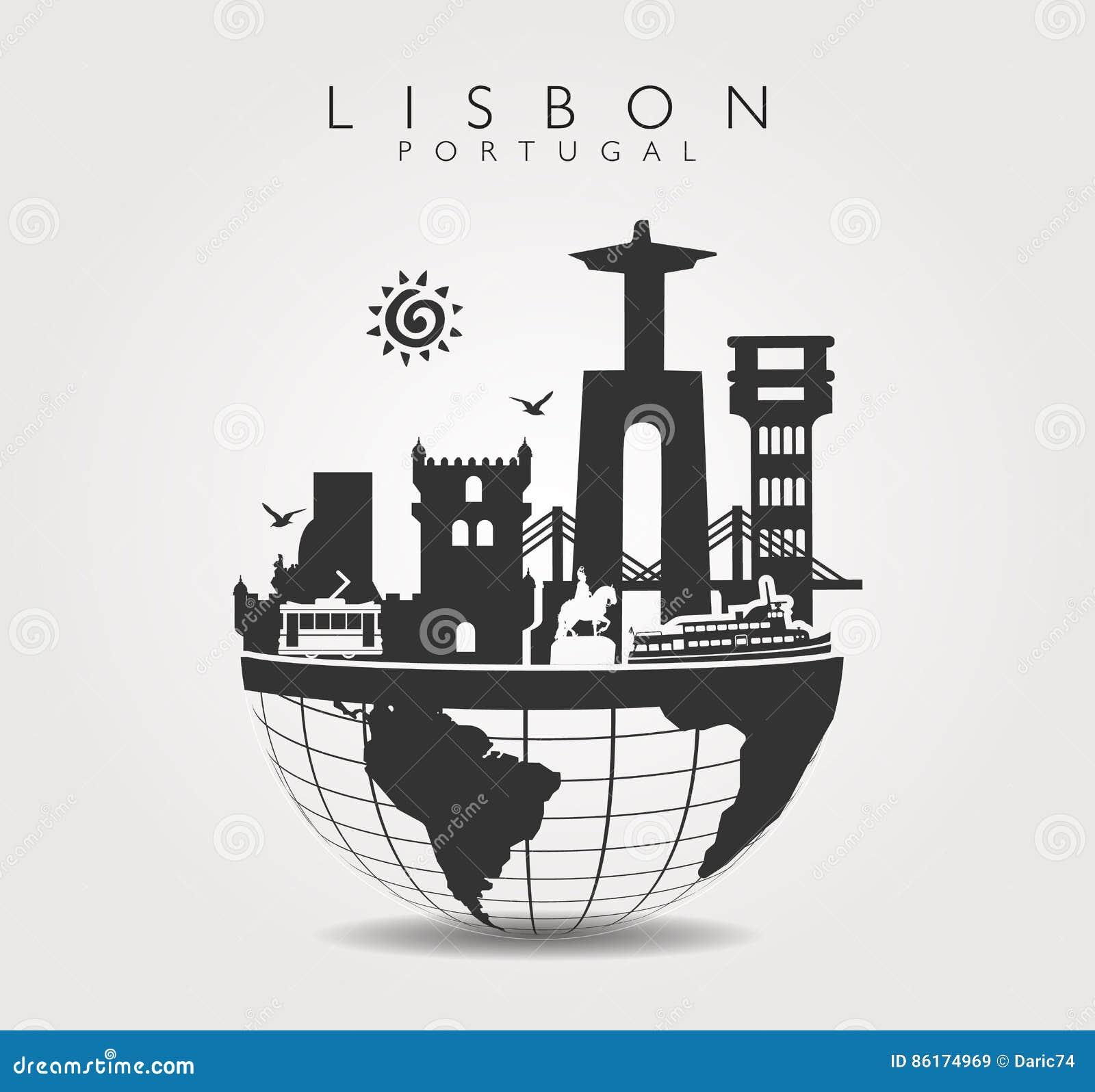 Monumentos del viaje en Lisboa en la parte superior del mundo