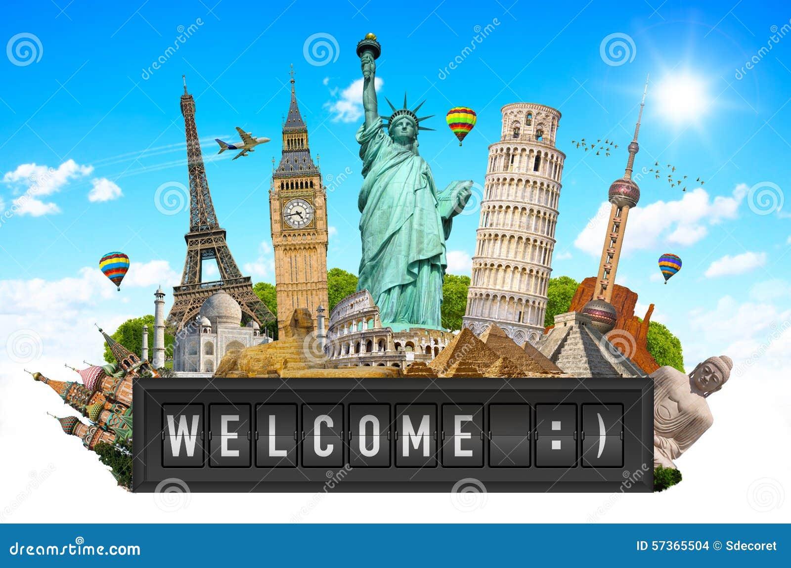 Monuments du monde sur un panneau de panneau d 39 affichage d for Les monuments les plus connus du monde