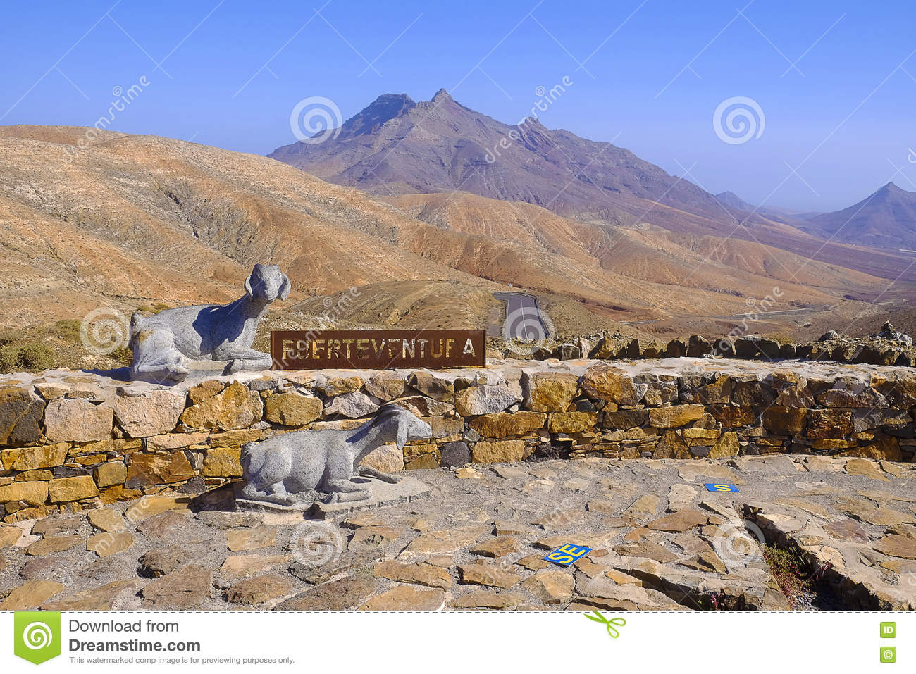 Monuments of two goats and a landmark. Fuerteventura, Spain - 25.06.2016.