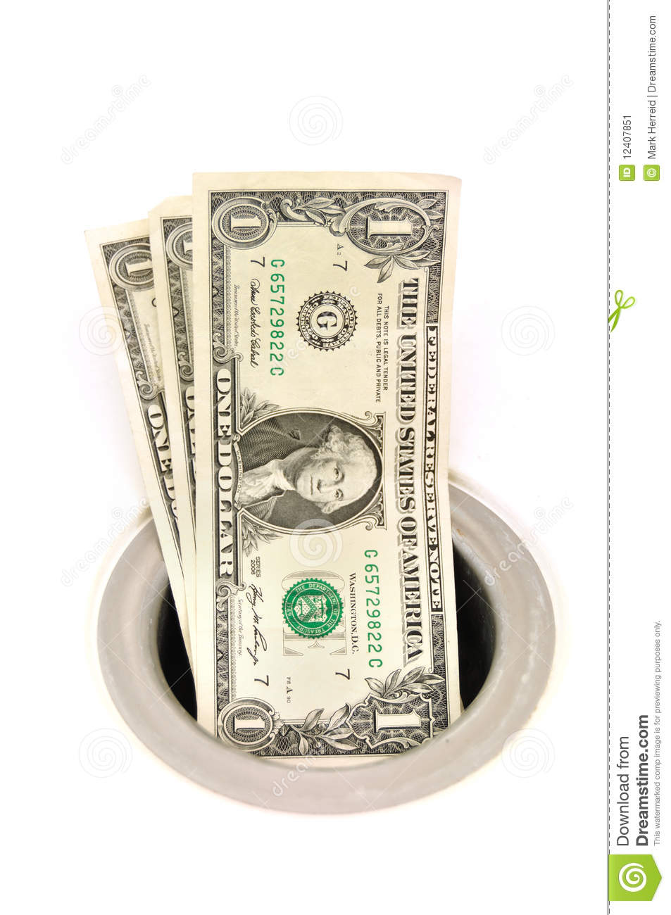 Mony Down The Drain Stock Image Image Of Money Waste