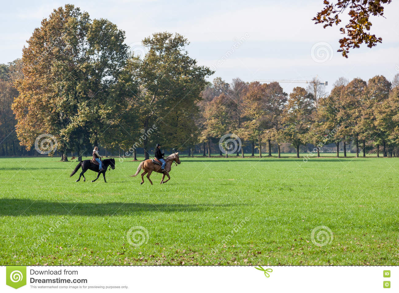 MONZA, ITALY/EUROPE - OCTOBER 30 : Horse riding in Parco di Monza Italy on October 30, 2010. Unidentified people.