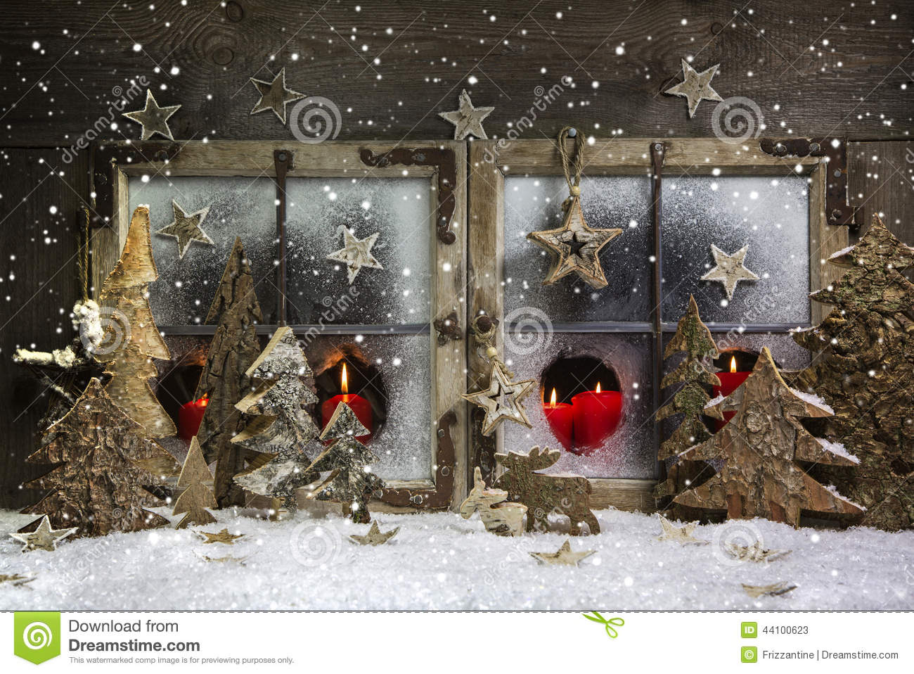 mood and atmosphere christmas window decoration in red with woo stock image image of. Black Bedroom Furniture Sets. Home Design Ideas
