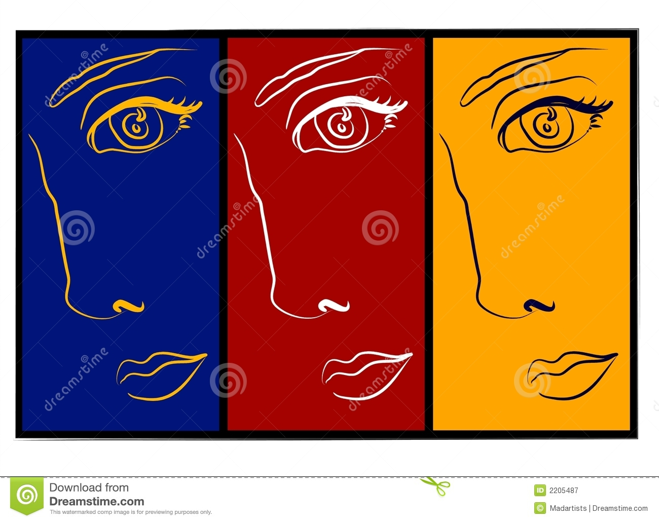 Moodswings - 3 Faces Collage Royalty Free Stock Photography ...