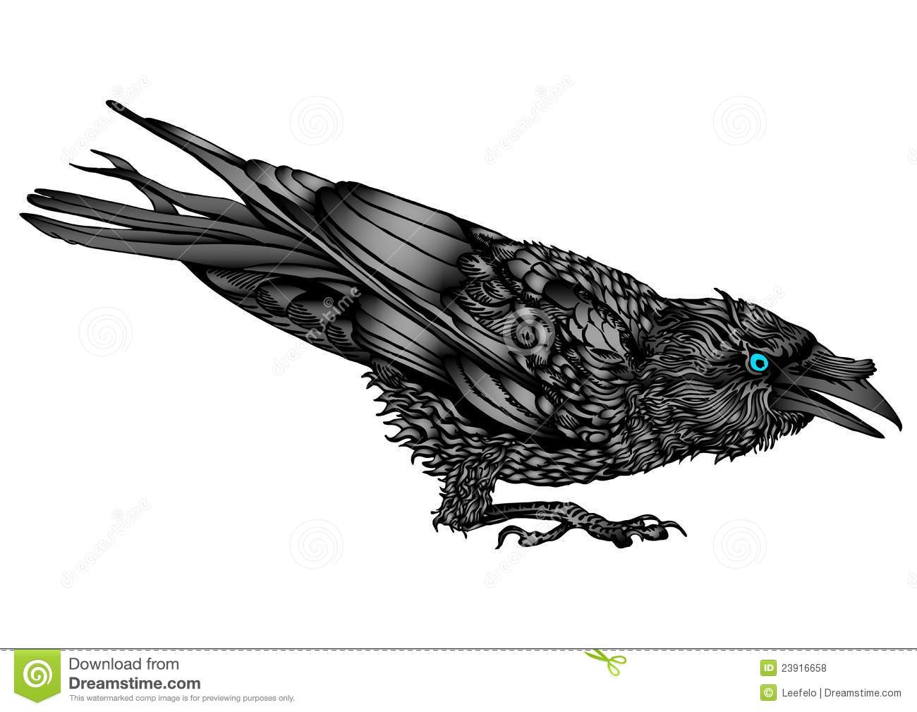 An illustration of a crouched raven with in a fighting mood
