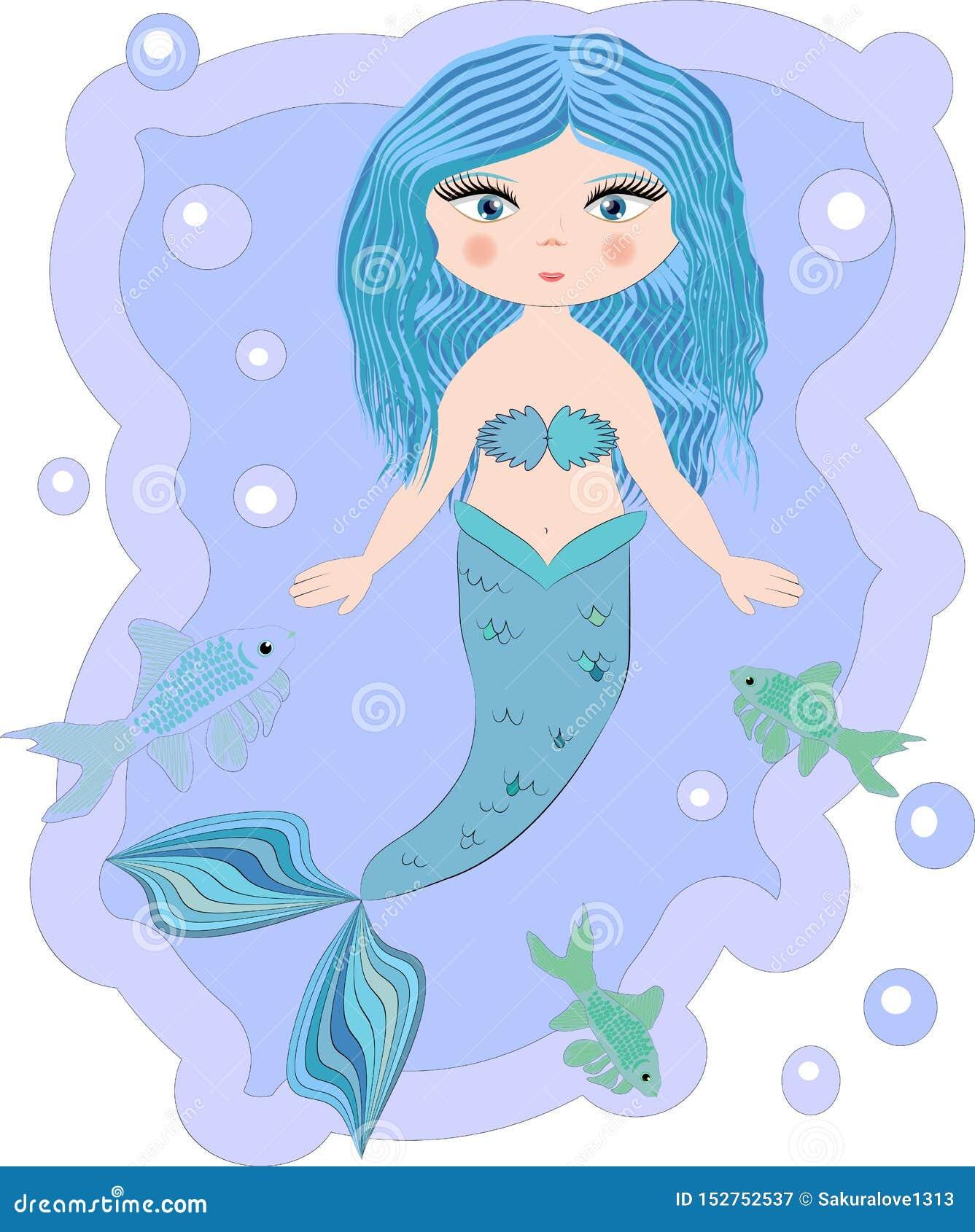 Mooi beeldverhaal weinig meermin in een kroon Sirene Overzees Thema