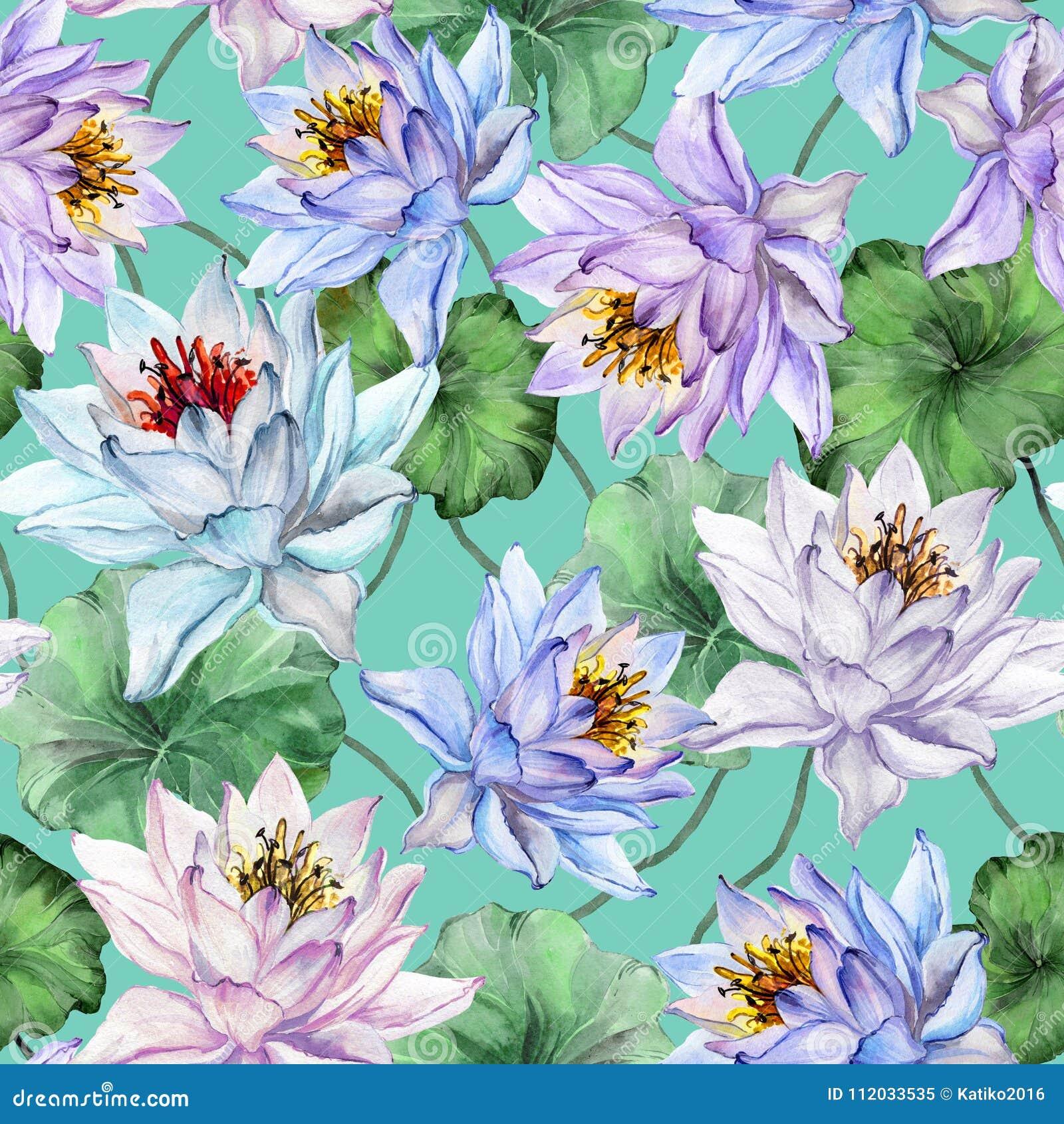 Mooi bloemen naadloos patroon Grote kleurrijke lotusbloembloemen met bladeren op turkooise achtergrond Hand getrokken illustratie