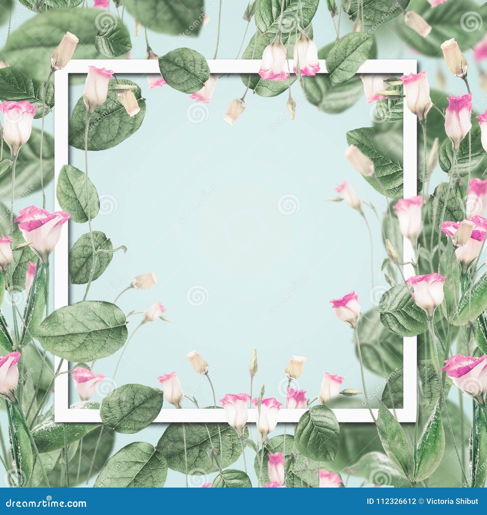 Mooi botanisch kader met roze bloemen en bladeren bij pastelkleur blauwe achtergrond