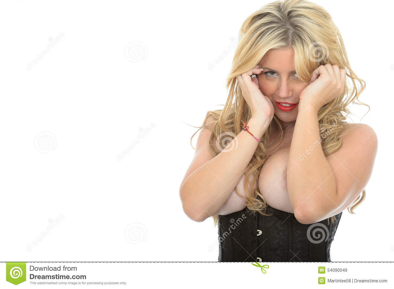 Mooi Coy Seductive Young Classic Blonde Pin Up Model Posing Topless