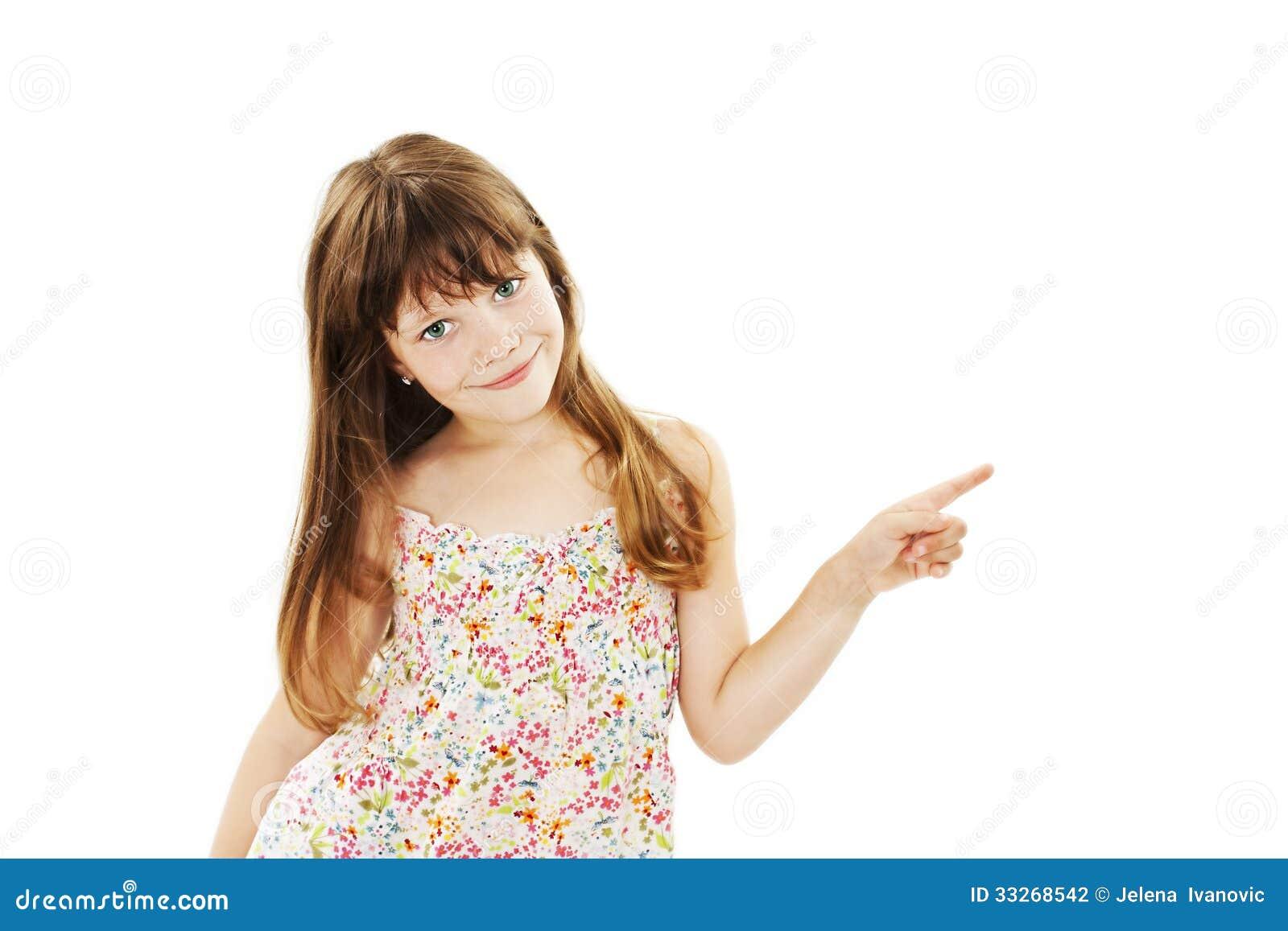 Mooi de jeugdmeisje die exemplaarruimte voorstellen