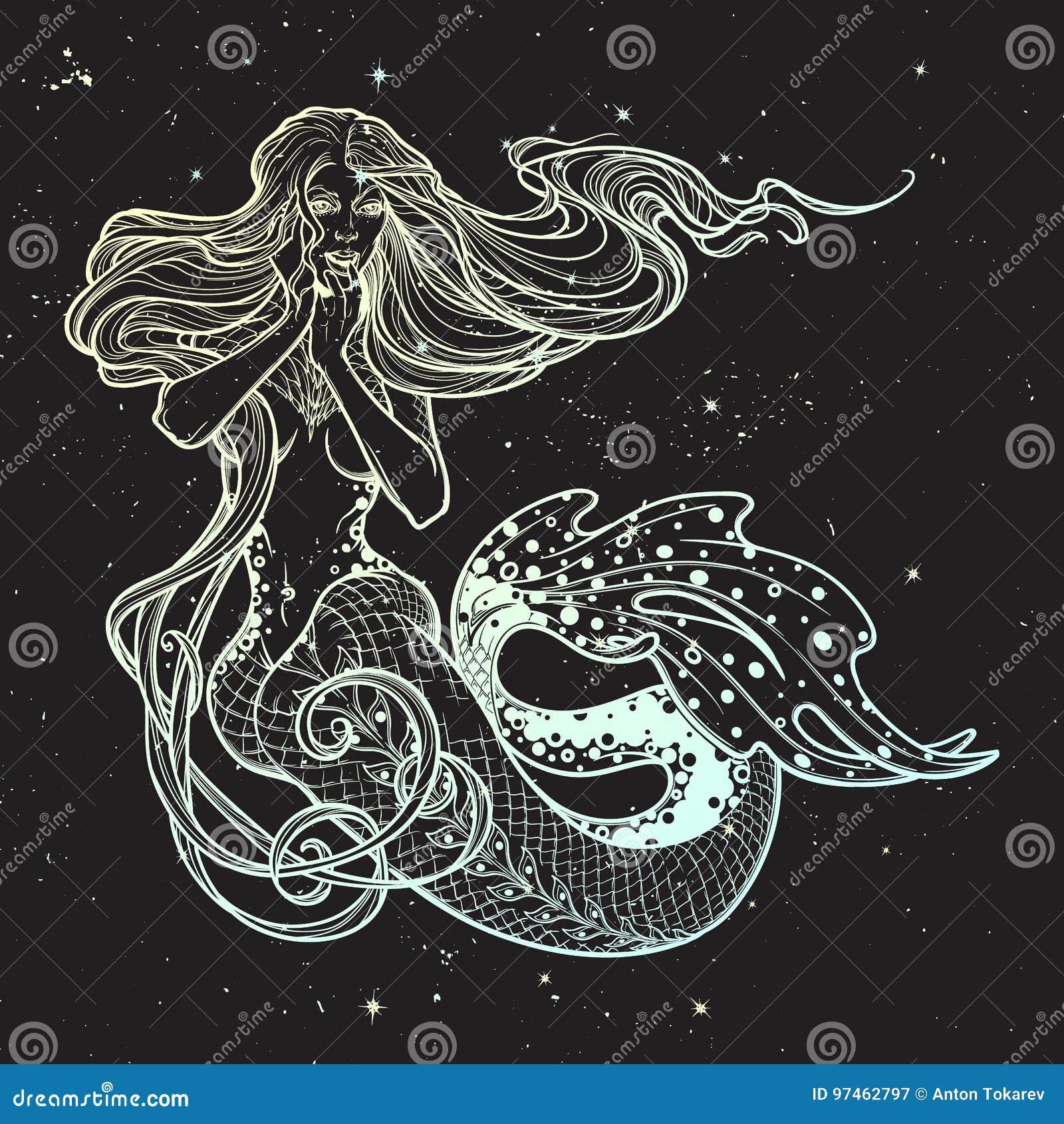 Mooi de zittingshand getrokken kunstwerk van het meerminmeisje Sensuele en gevaarlijke oceaansirene in retro stijl