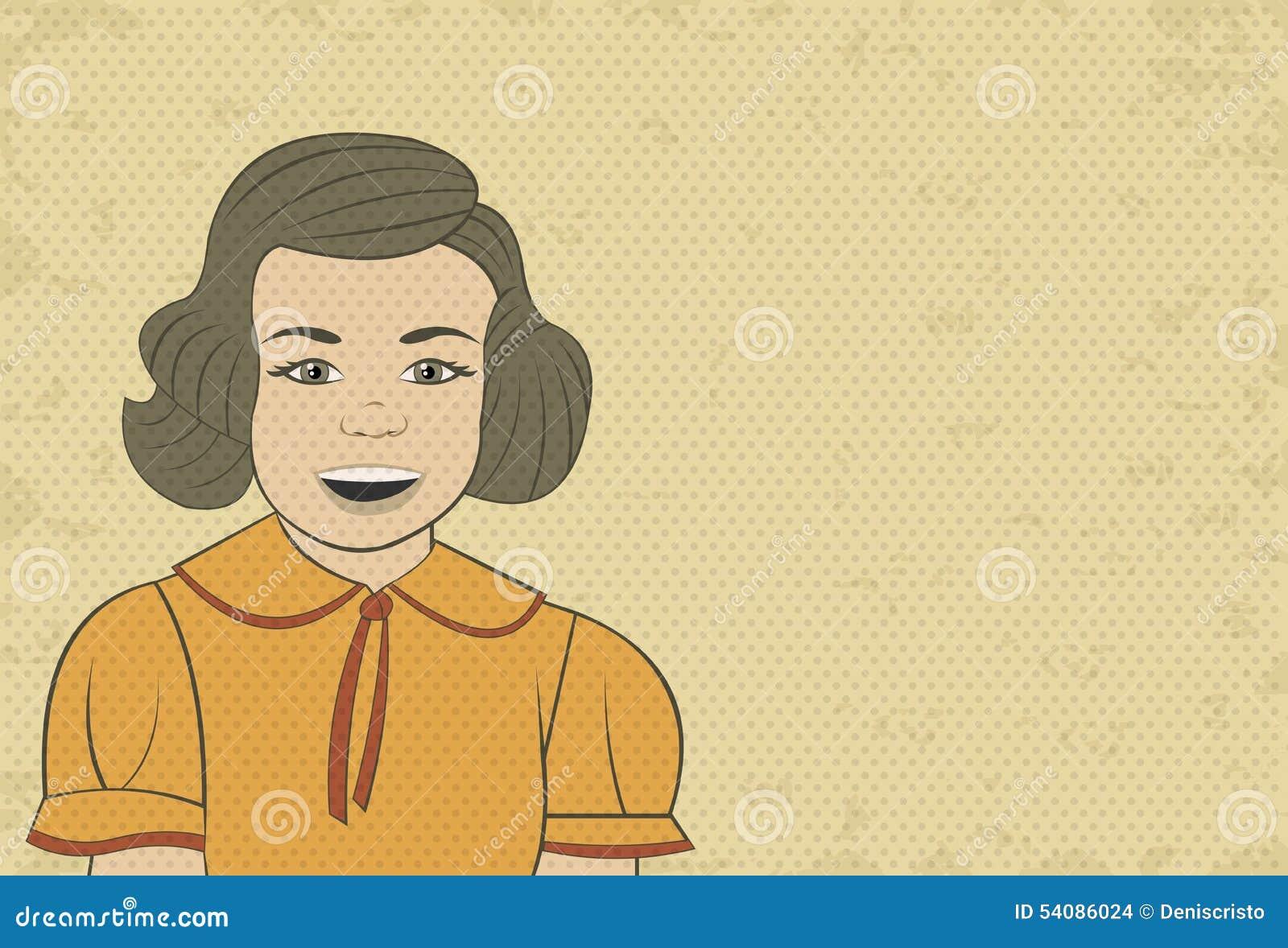 Mooi donkerbruin retro meisjesgezicht