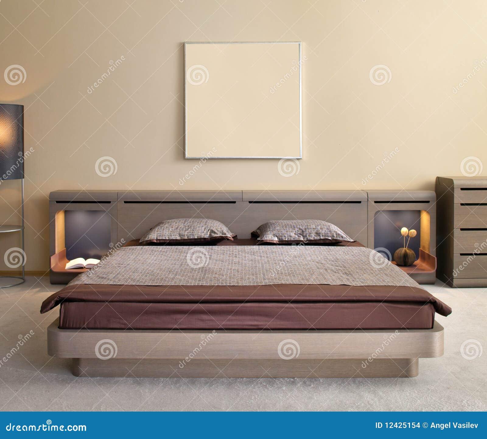 Mooi en modern slaapkamer binnenlands ontwerp. stock afbeeldingen ...