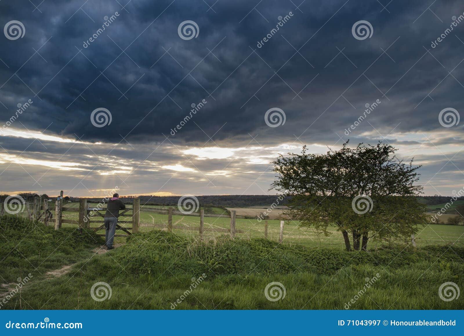 Mooi Engels Plattelandslandschap Over Gebieden Bij