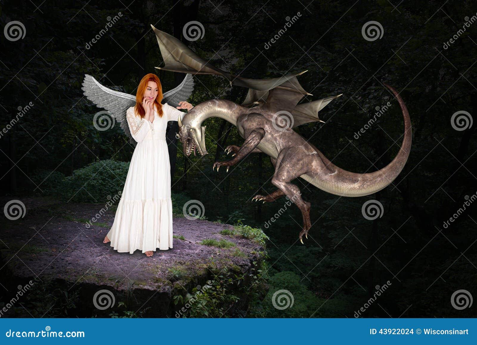 Mooi Forest Woman en Vliegende Draak
