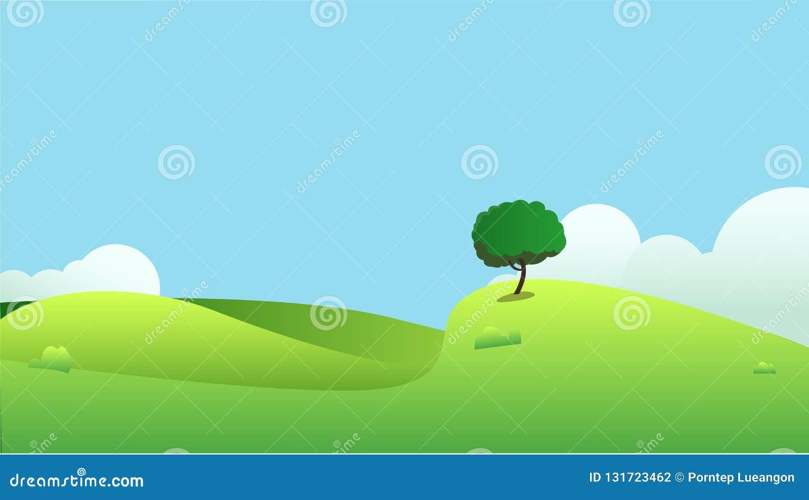 Mooi gebiedenlandschap met een dageraad, groene heuvels, heldere kleuren blauwe hemel,