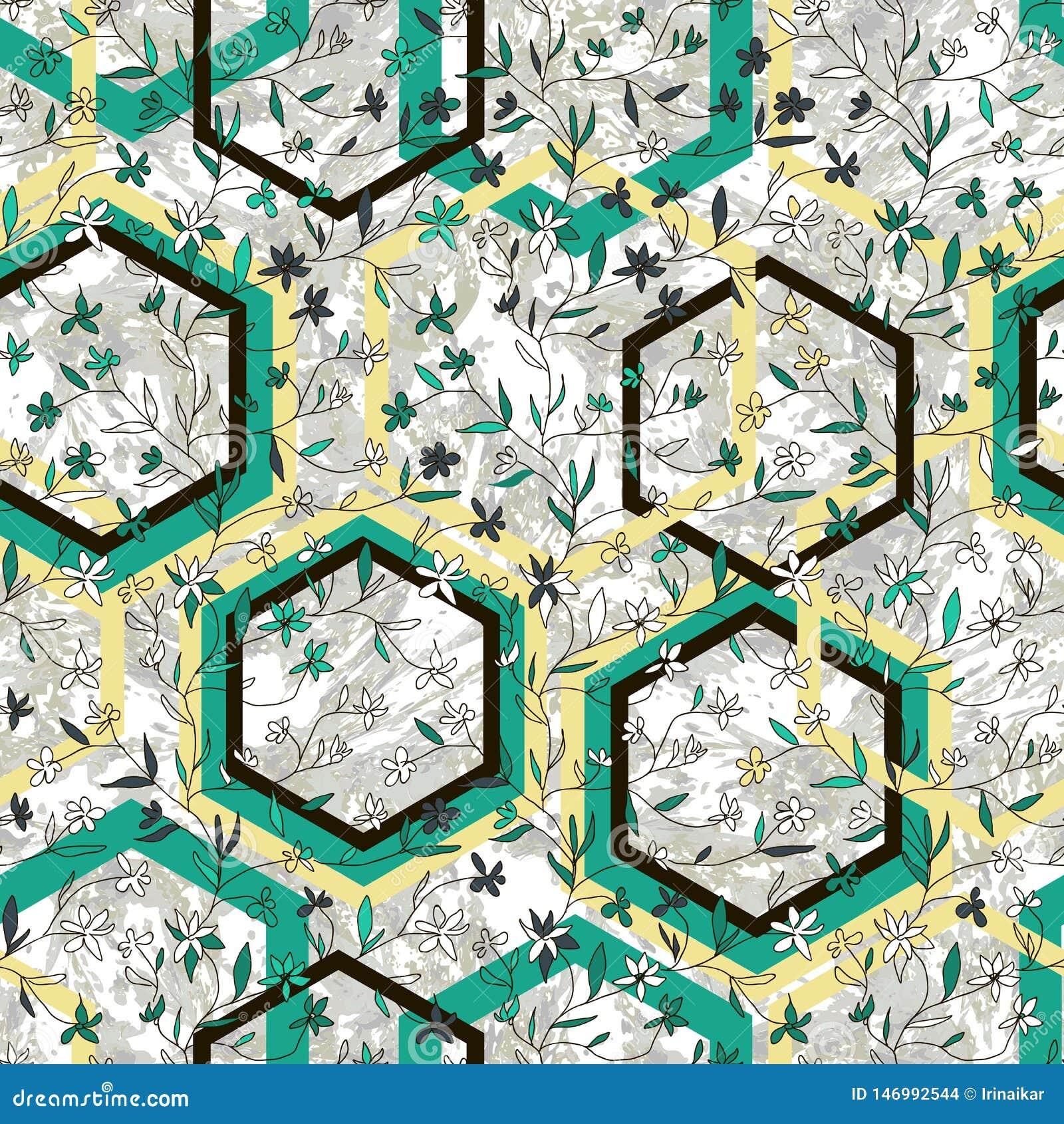 Mooi geometrisch en bloemen vector naadloos patroon Hand getrokken kleine bloemen en ruiten op marmeren geweven achtergrond