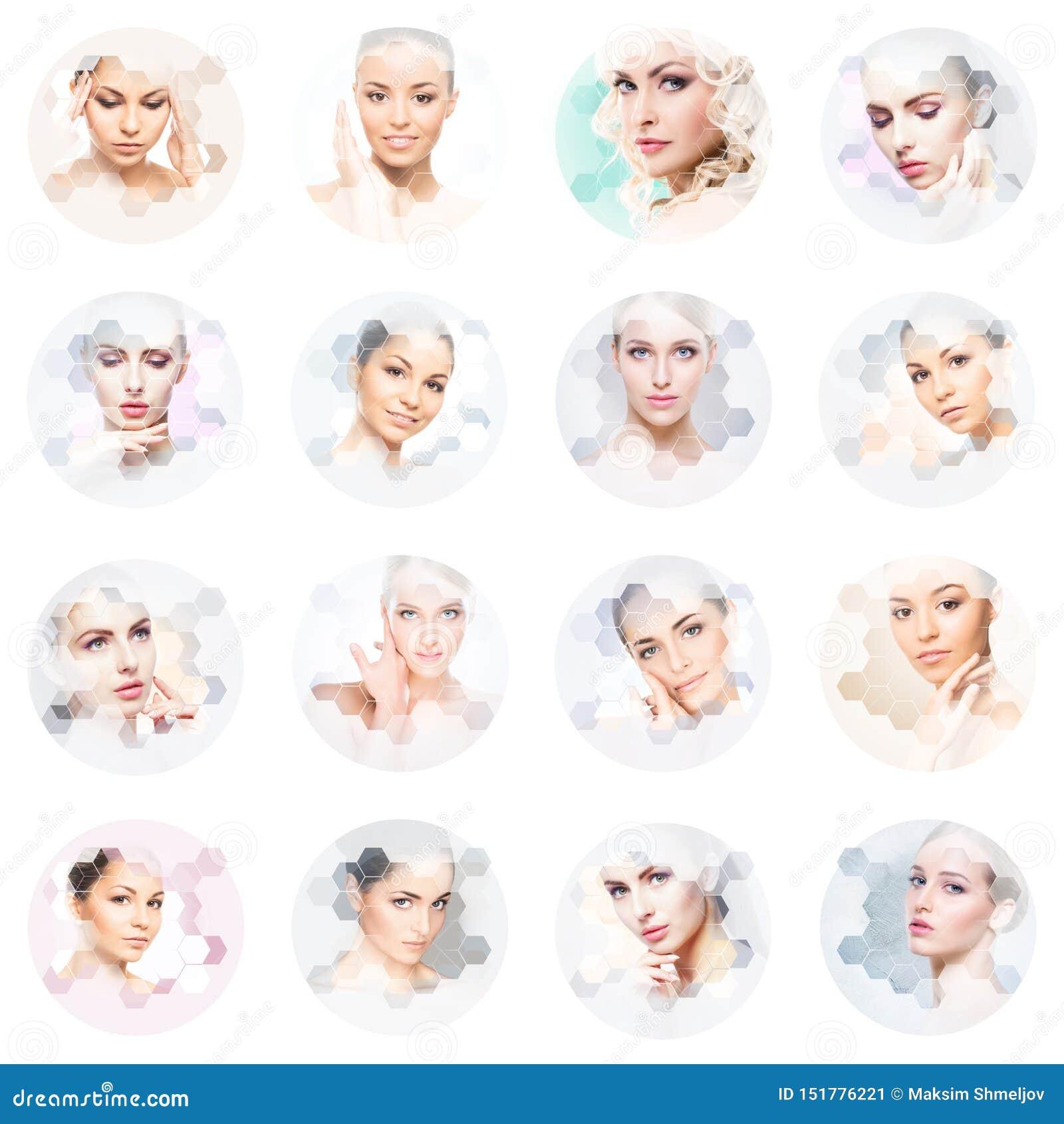 Mooi gezicht van jong en gezond meisje in collage Plastische chirurgie, huidzorg, schoonheidsmiddelen en gezicht het opheffen con