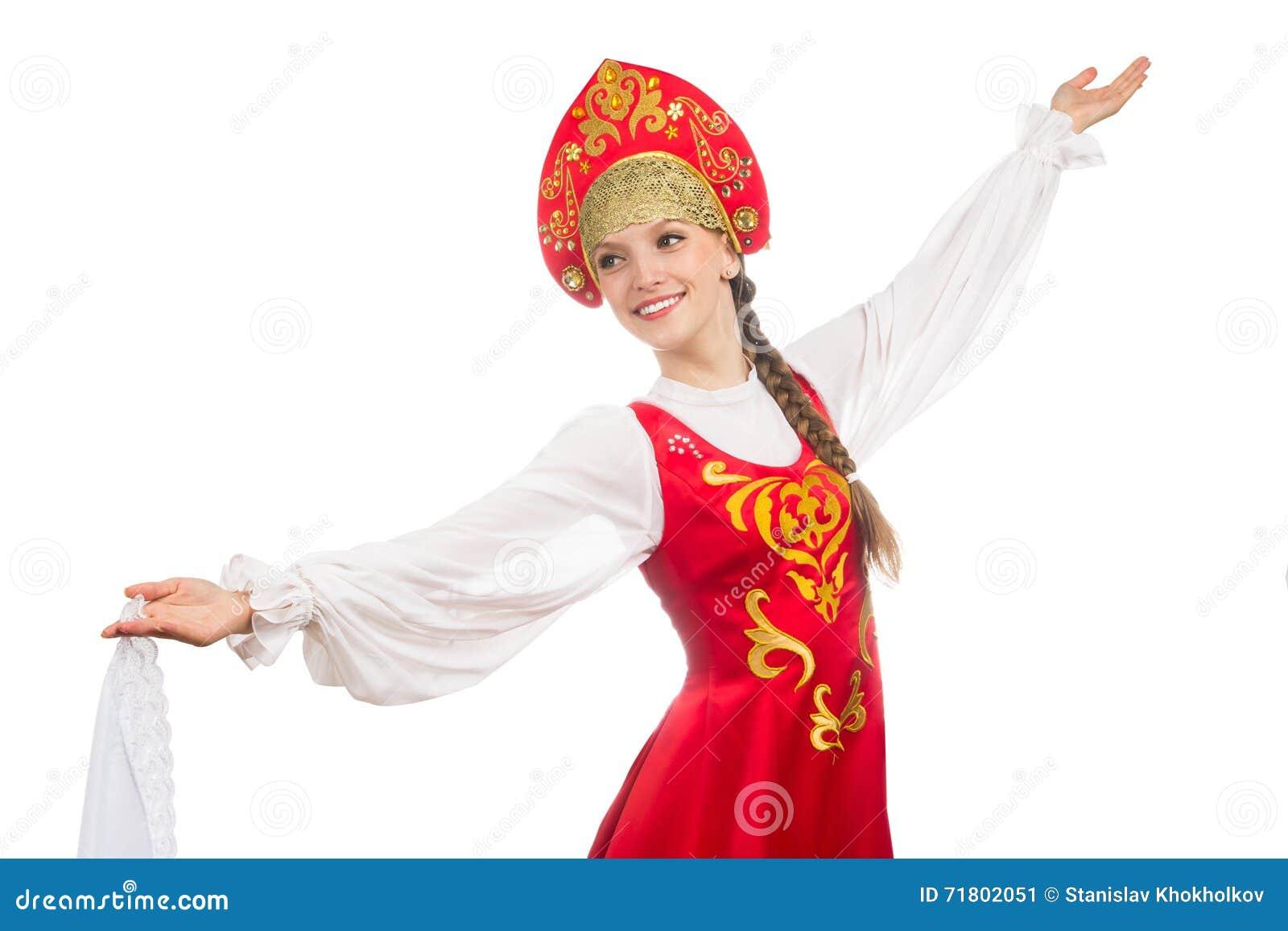 Mooi glimlachend Russisch meisje in volkskostuum