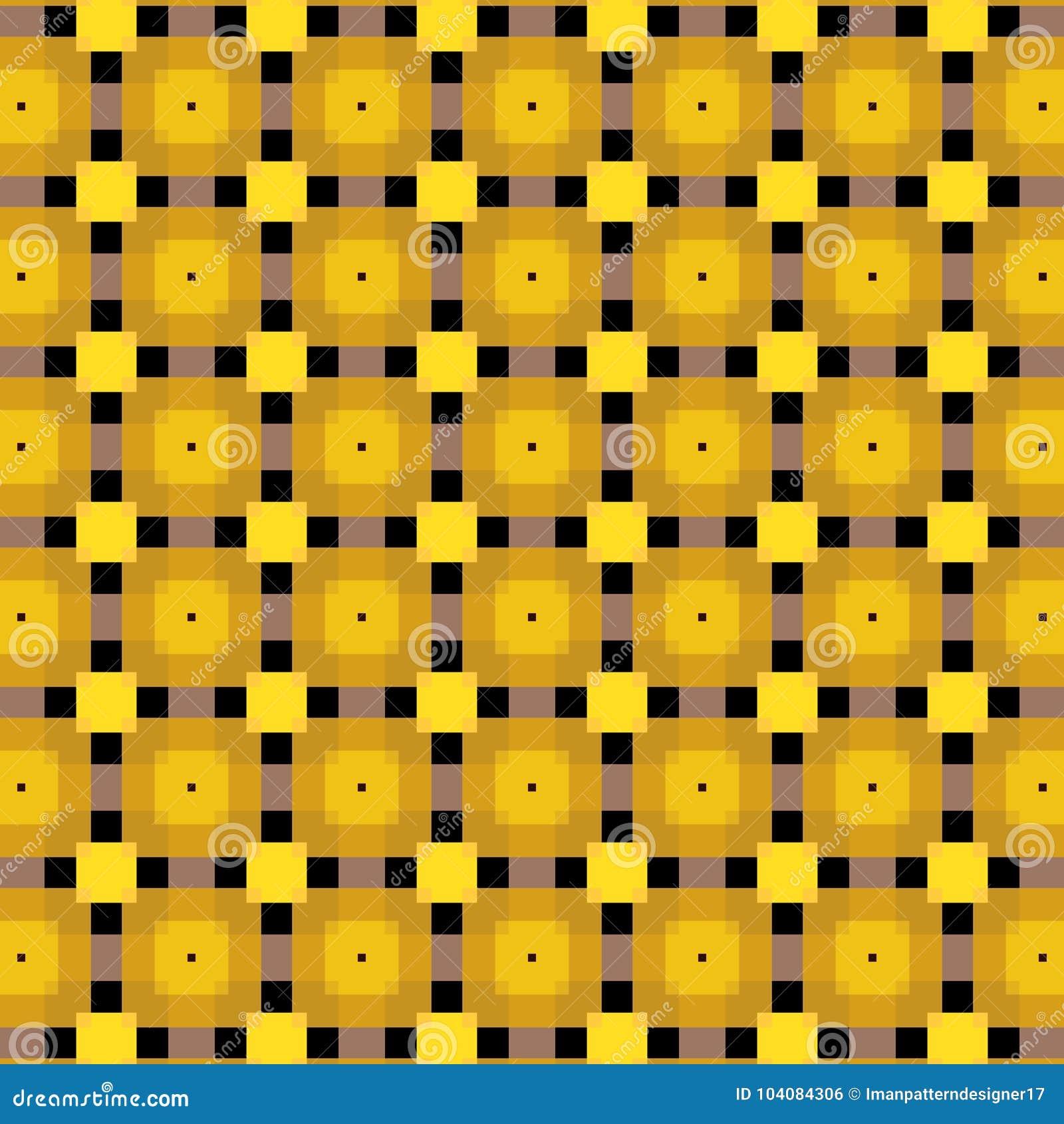 Mooi gouden gekleurd vierkant en zwart lijnen vectorpatroon met transprencygevolgen