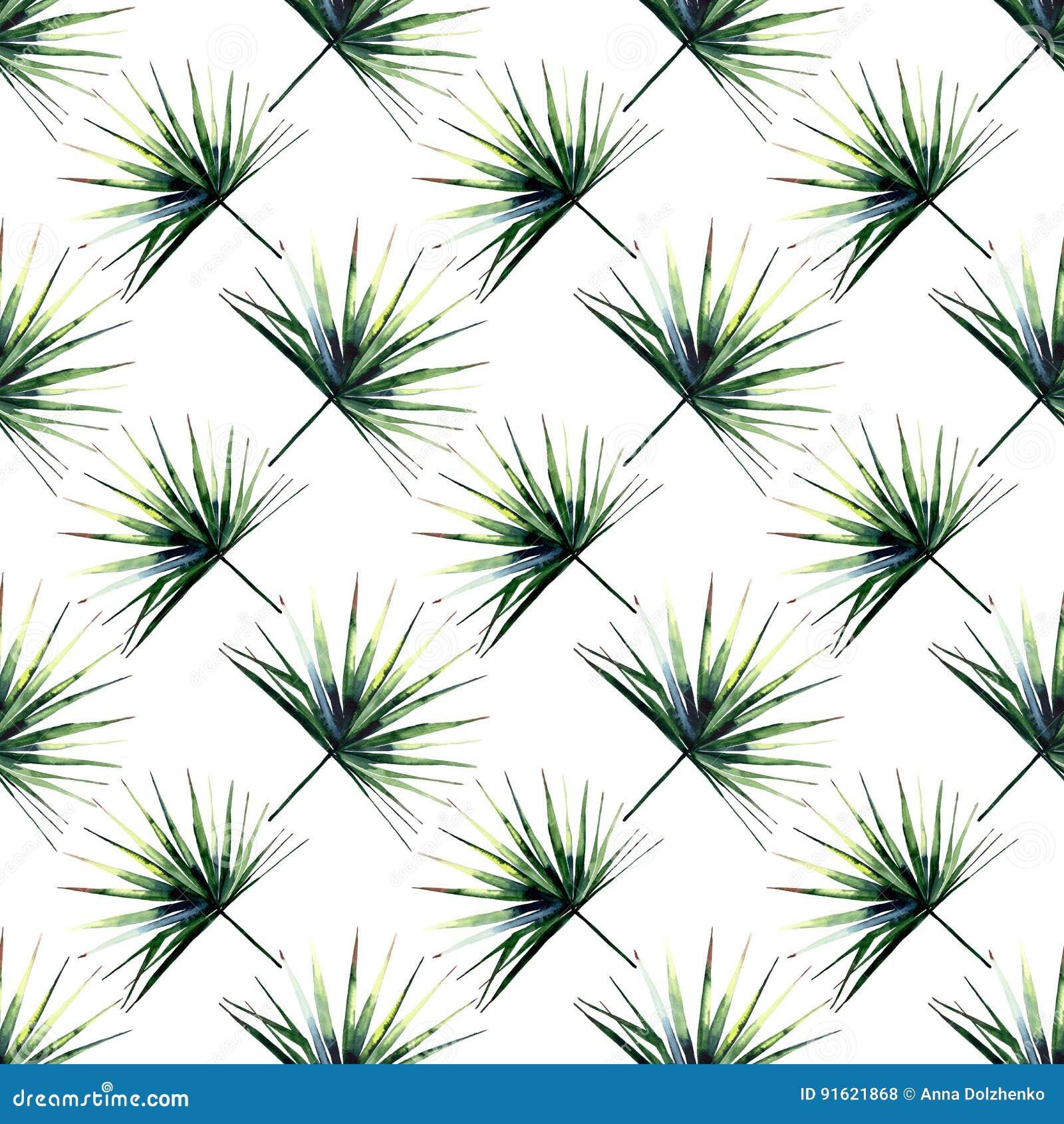 Mooi heldergroen tropisch prachtig bloemen kruiden de zomer diagonaal patroon van Hawaï van een palmenwaterverf