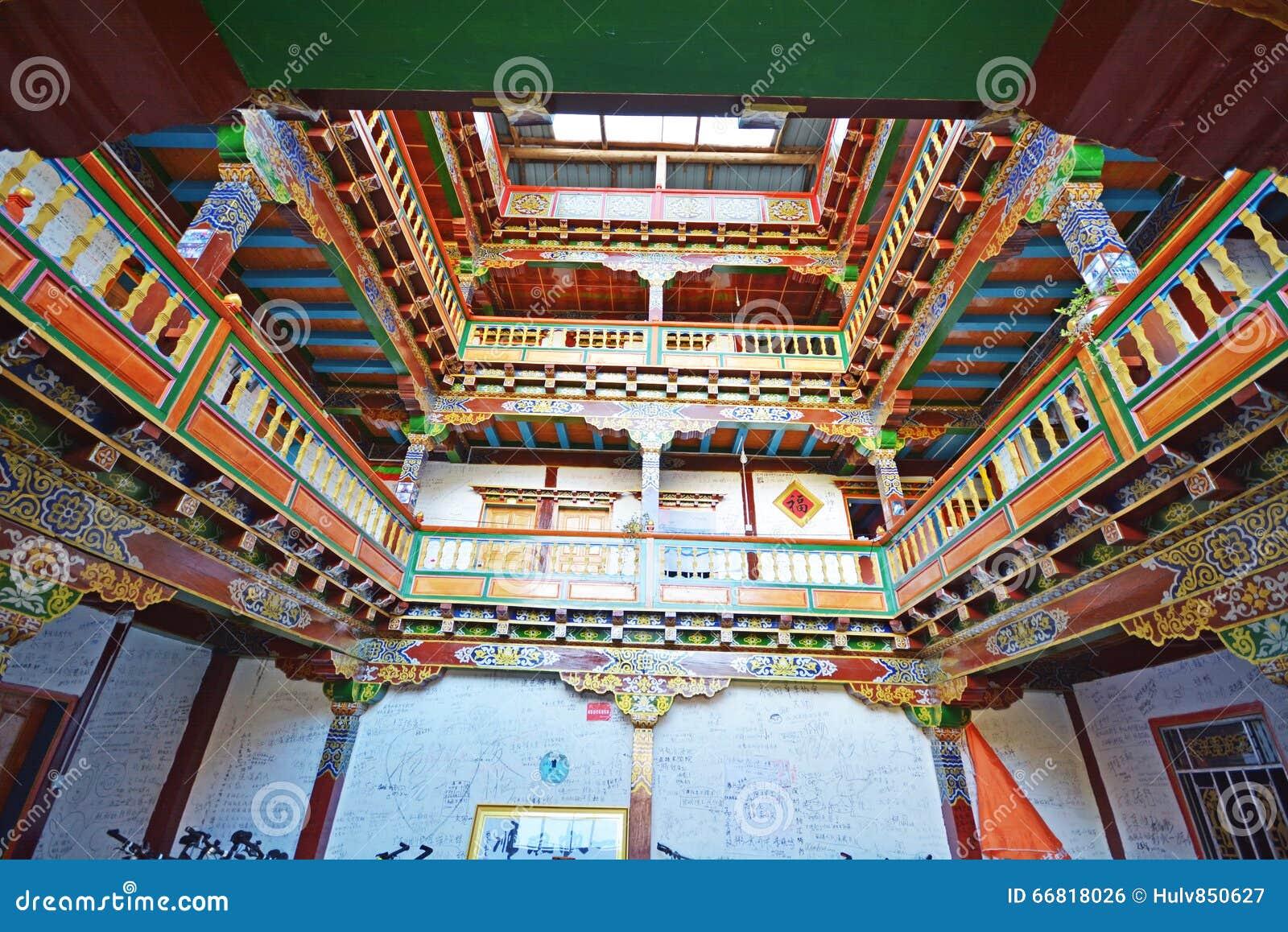 Mooi het huisbinnenland van tibet stock foto afbeelding