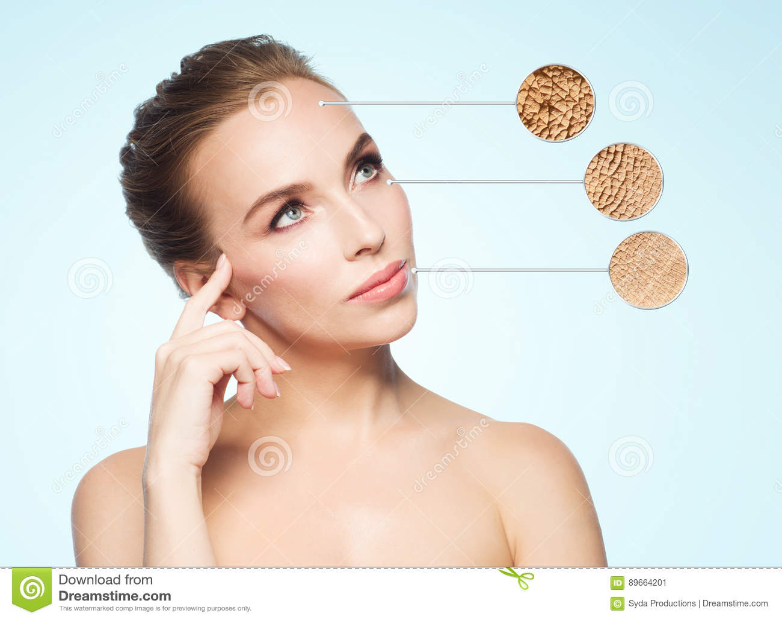 Mooi jong vrouwengezicht met droge huidsteekproef