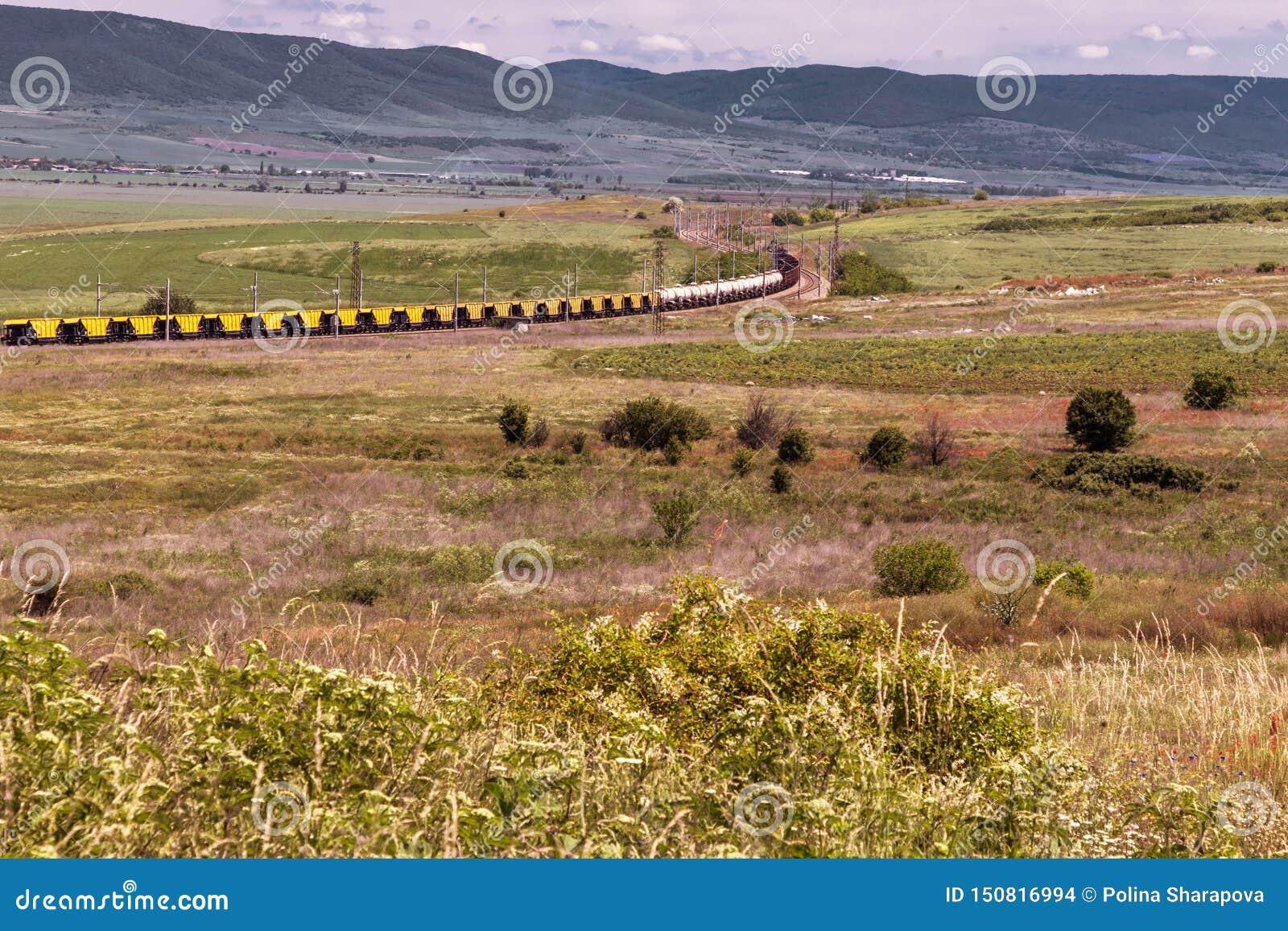 Mooi landschap, spoorwegtrein door het groene gebied, hooggebergte