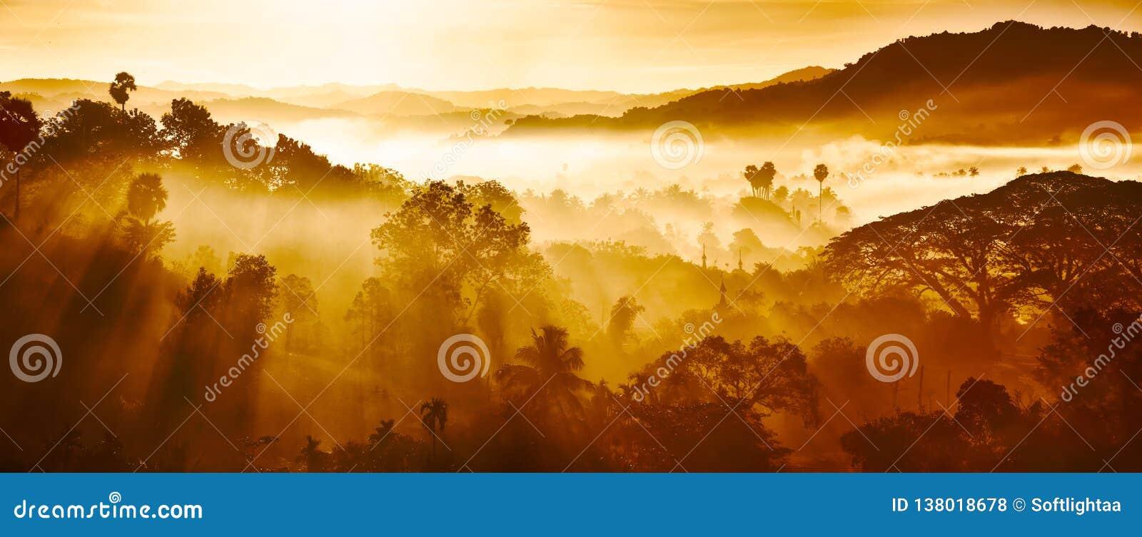 Mooi Landschap van bergen en regenwoud in de vroege stralen van de ochtendzon en mist in Myanmar