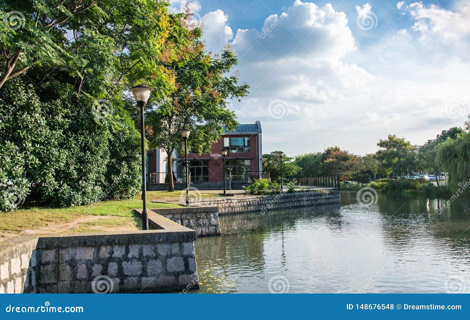 Mooi landschap van de stad van Theems in Shanghai