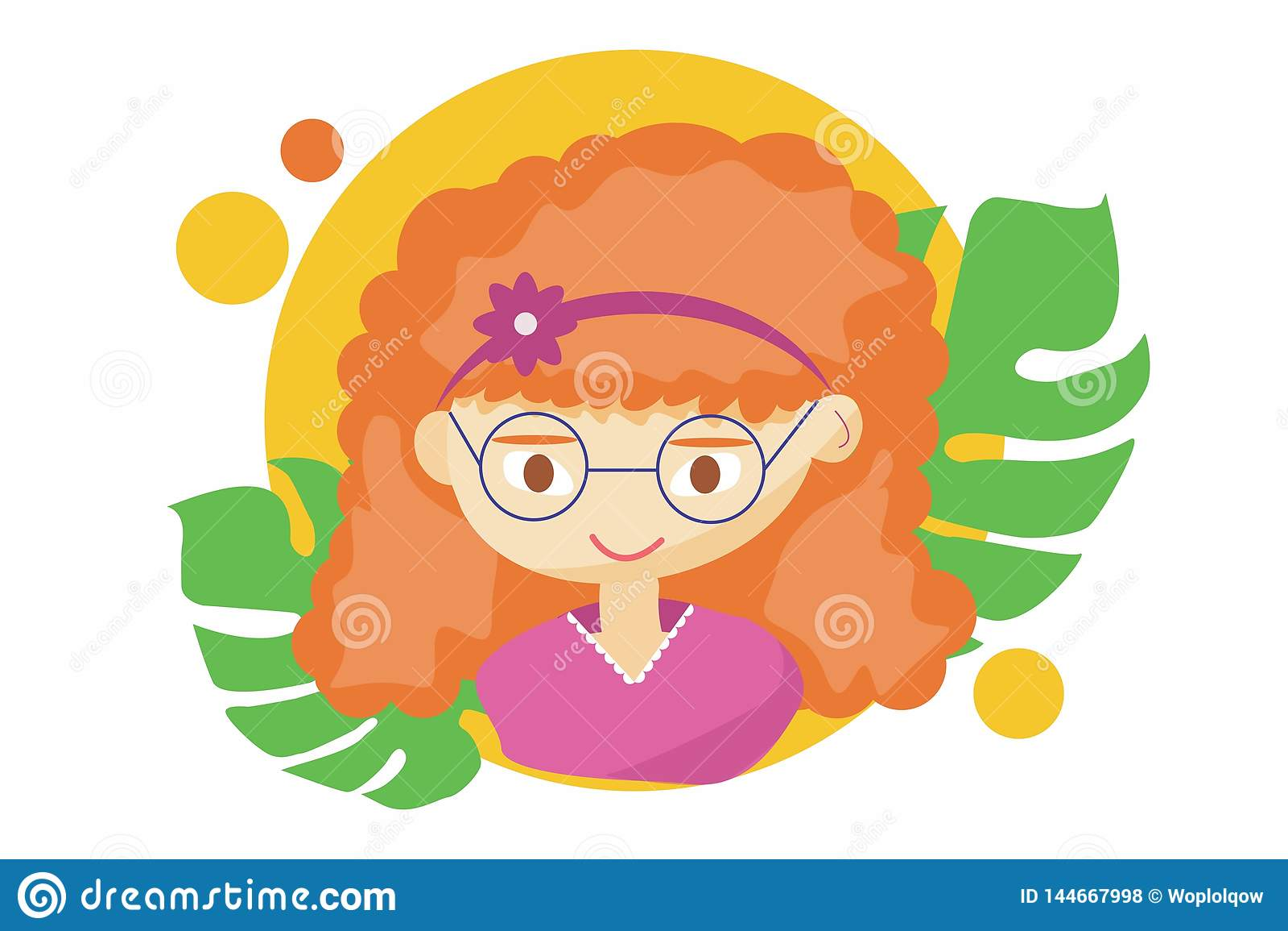Mooi leuk de zomermeisje - illustratie van mooi roodharig gelukkig meisjesgezicht, positieve gezichtseigenschappen, tiener het kn