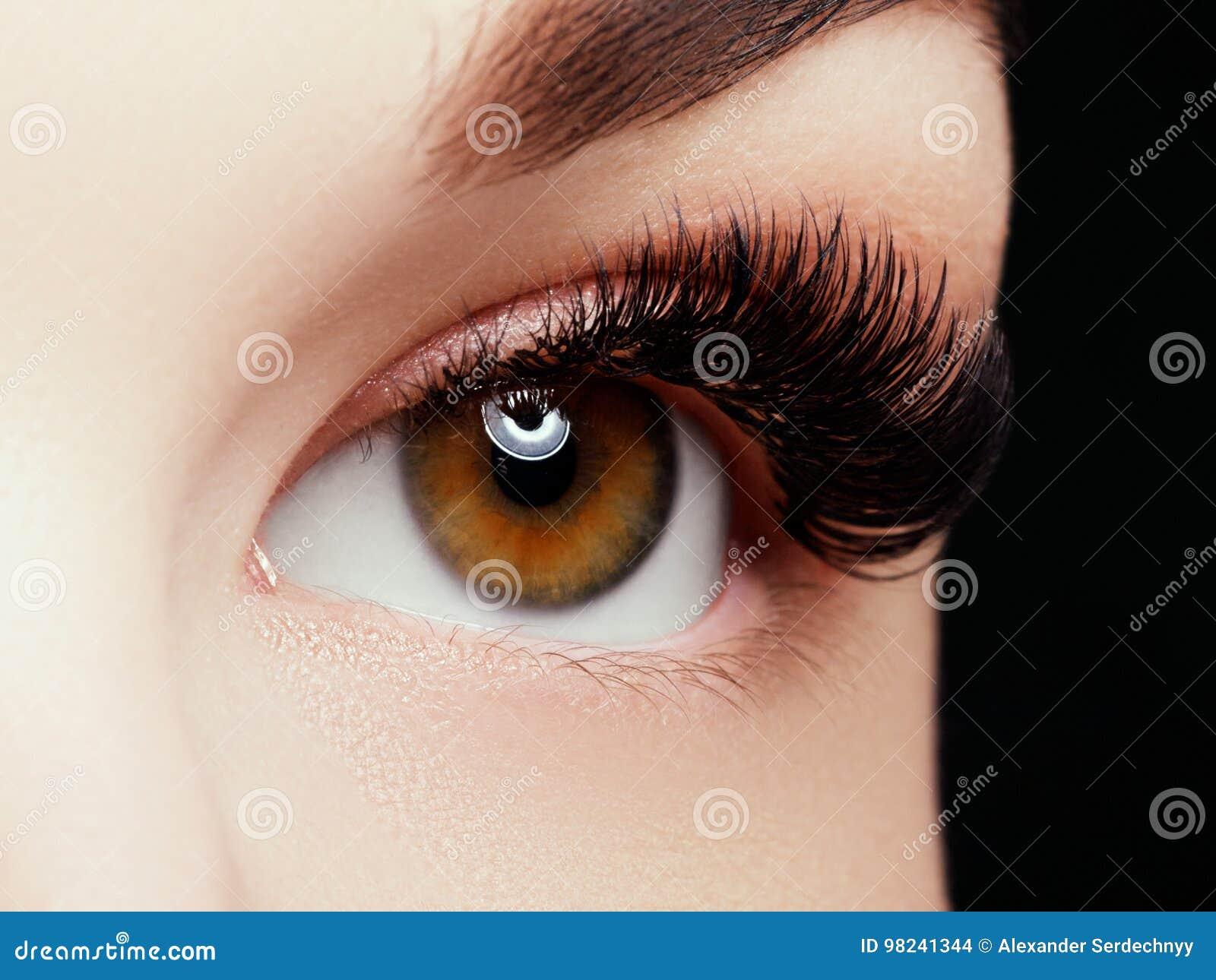 Mooi macroschot van vrouwelijk oog met extreme lange wimpers en zwarte voeringsmake-up