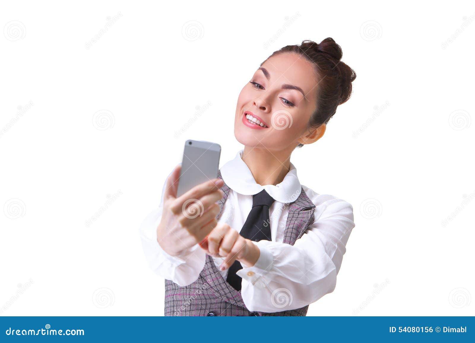 Mooi meisje die selfie nemen