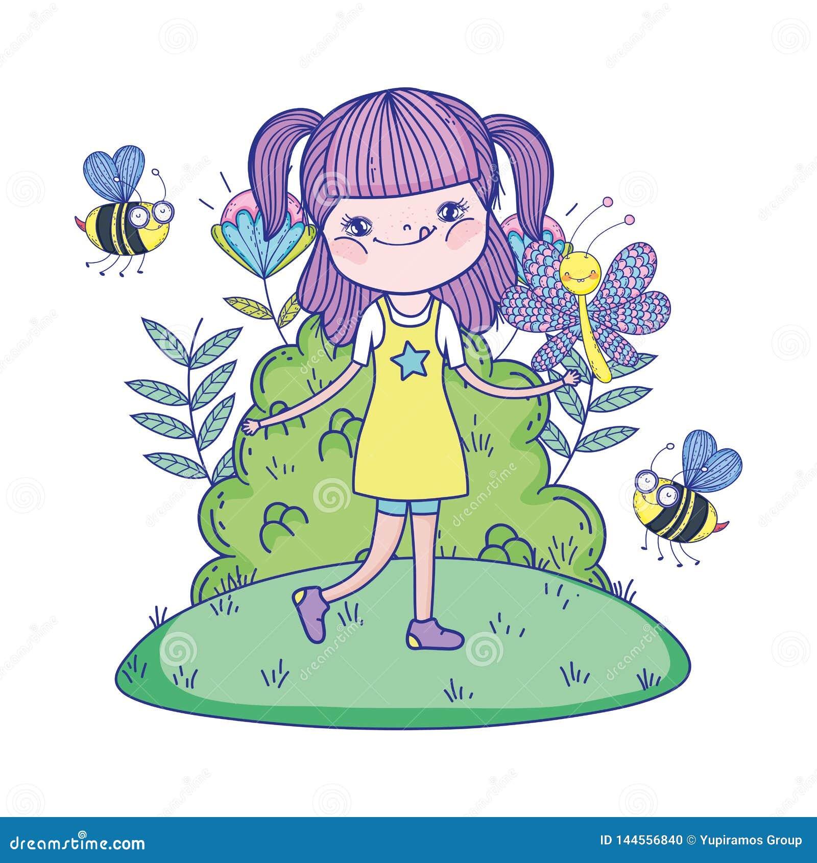 Mooi meisje met bijen in de gebiedskarakters