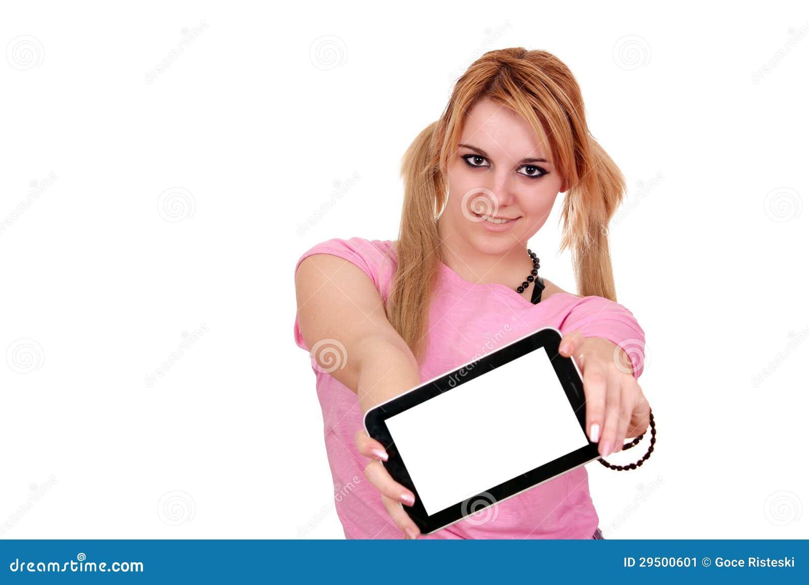 Mooi meisje met tabletPC