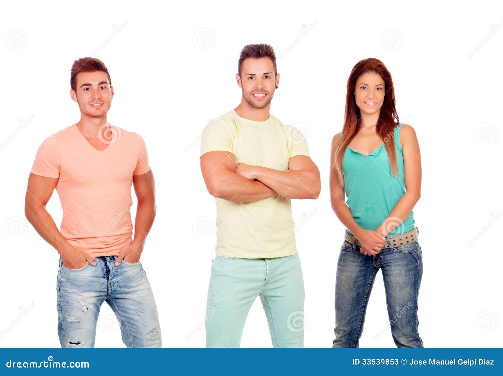 Mooi meisje met twee knappe jongens stock foto 39 s afbeelding 33539853 - Twee meisjes en een jongen ...