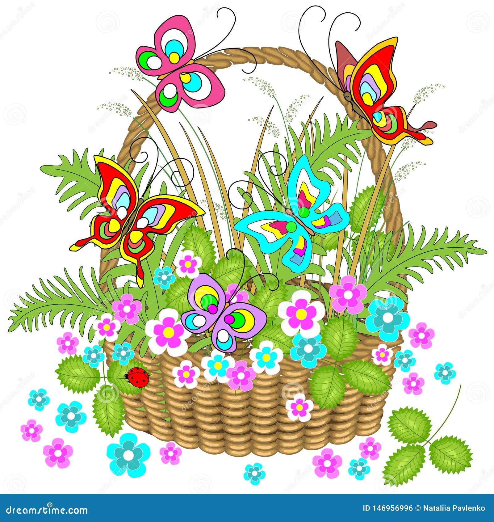 Mooi rieten mandhoogtepunt van bosinstallaties Gevoelige bloemen, charmante vlindersopwinding over hen Vector illustratie