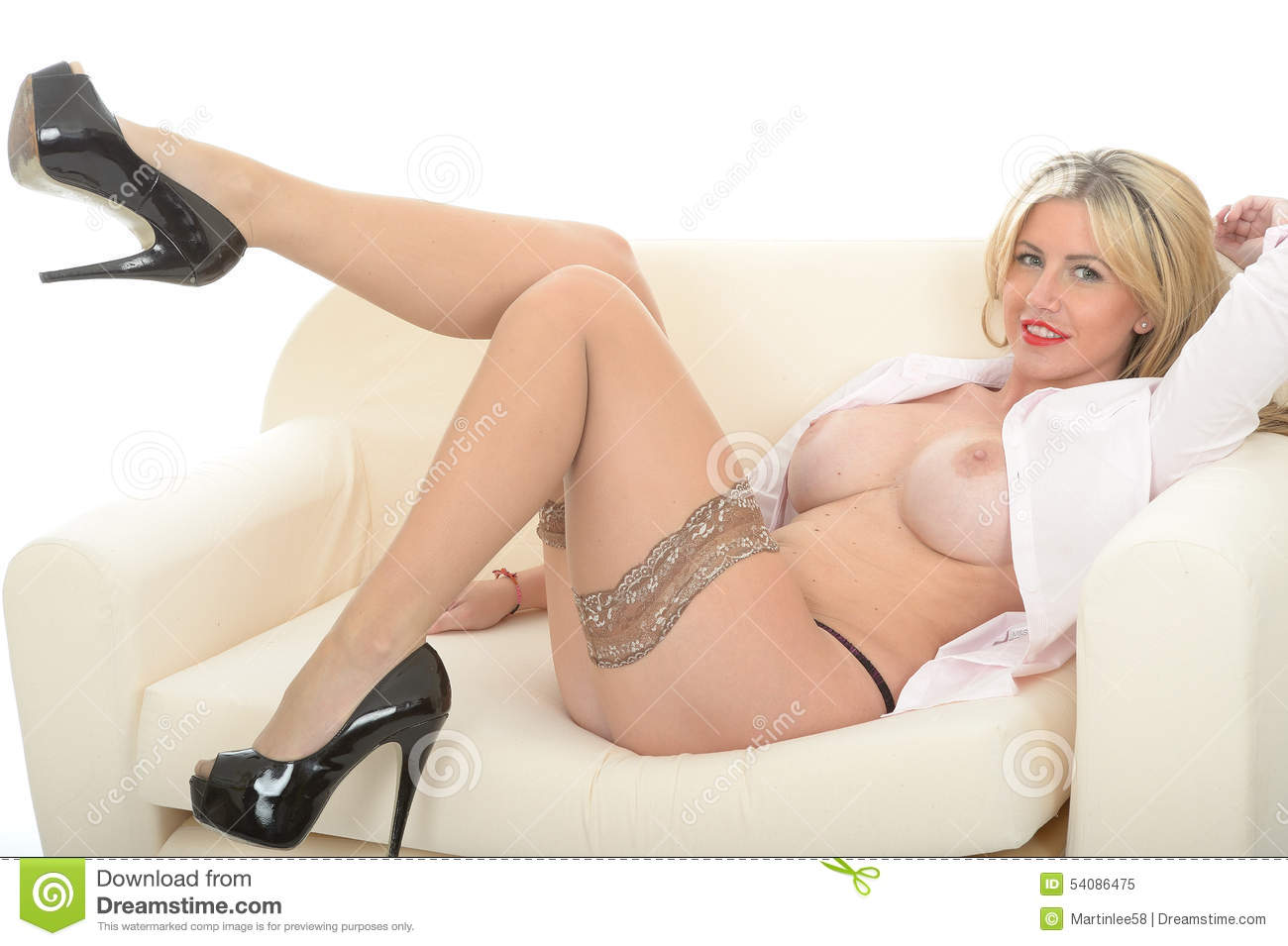 Mooi Sexy Betoverend Wellustig Jong Blonde Pin Up Model Posing Topless