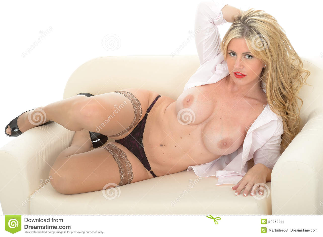 Mooi Sexy Erotisch Brutaal Jong Blonde Topless Pin Up Glamour Model Posing